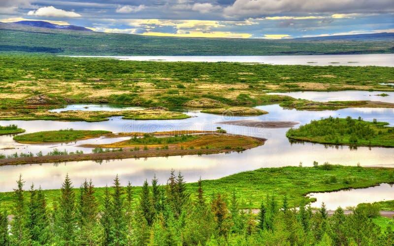 Национальный парк Thingvellir, место всемирного наследия ЮНЕСКО - Исландия стоковая фотография rf
