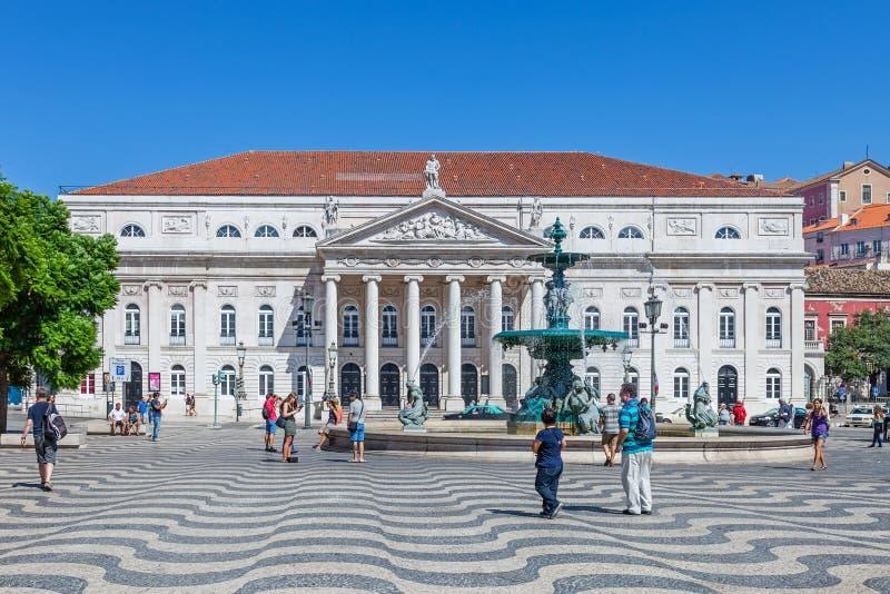 Национальный театр Dona Марии II, Лиссабон стоковая фотография rf