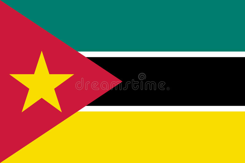 Национальный флаг вектора Мозамбика иллюстрация штока