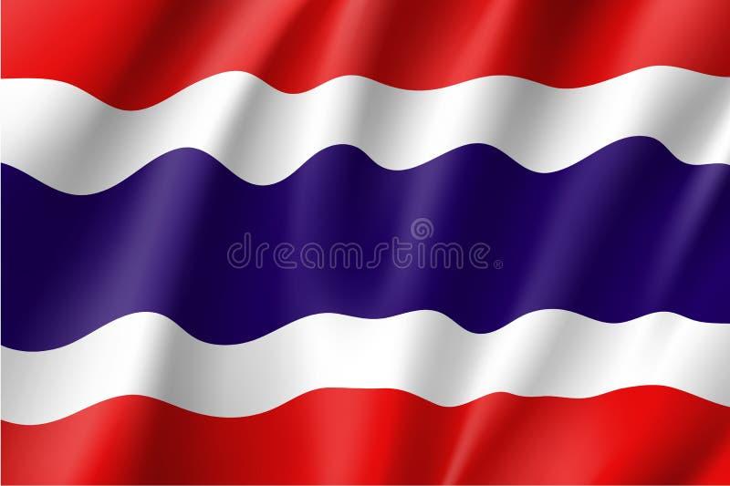 Национальный флаг Кингдом Оф Тюаиланд иллюстрация вектора