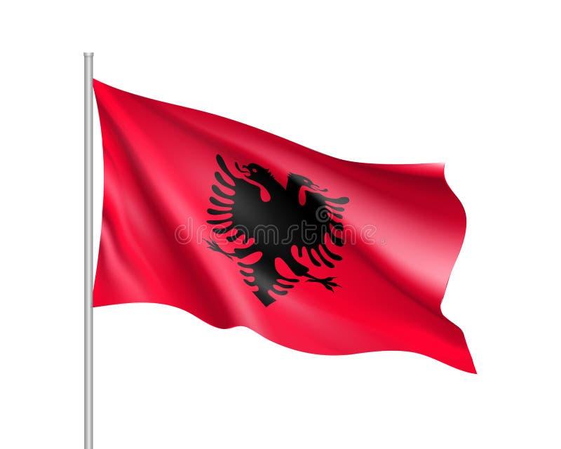 Национальный флаг положения Албании иллюстрация штока