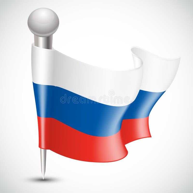 Национальный флаг России на белизне иллюстрация штока