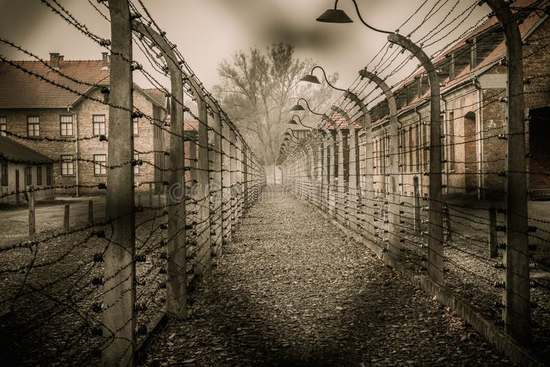 Нацистский концентрационный лагерь Освенцим i стоковые фотографии rf