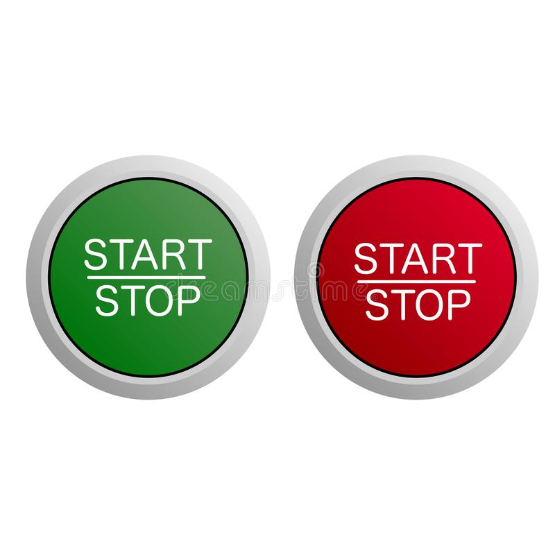 Начало и кнопка стоп на белой предпосылке иллюстрация штока