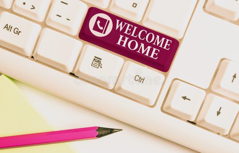 Начало приветствия текста Word Бизнес-концепция приветствия новых владельцев Domicile DoSize Entry White pc стоковое изображение