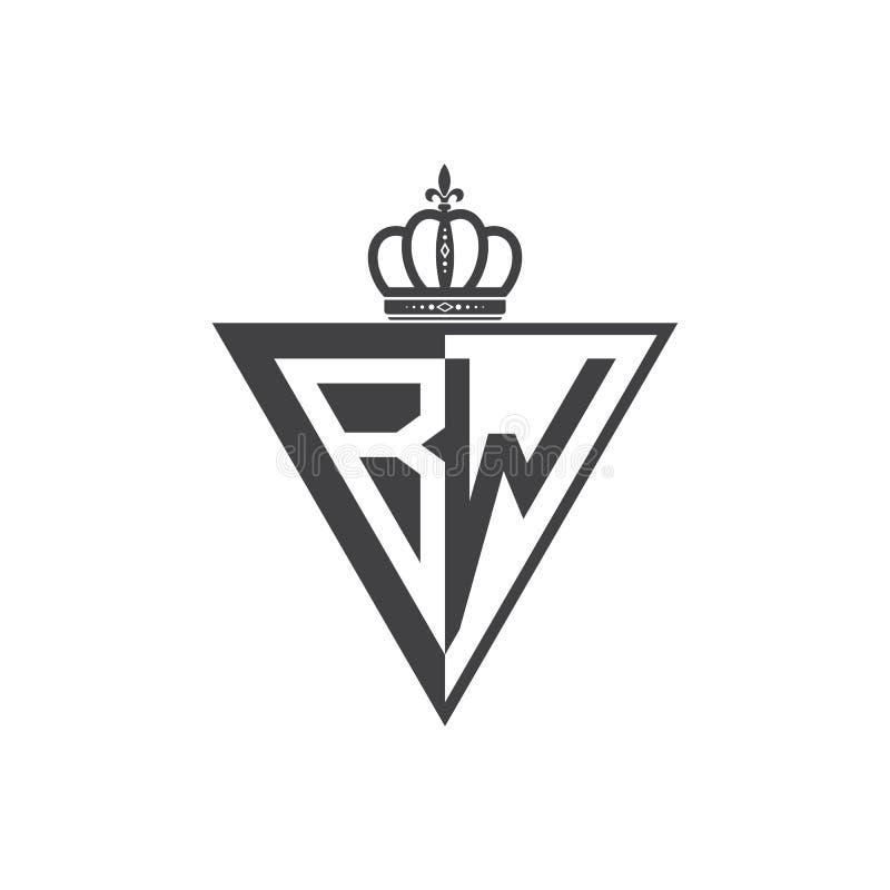 Начальная двухбуквенная чернота треугольника логотипа BW половинная иллюстрация штока