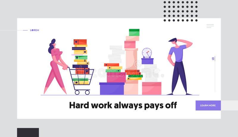 Начальная страница веб-сайта Deadline сотрудников компании Предпринимательница, выбрасывающая корзину, полную документации бесплатная иллюстрация