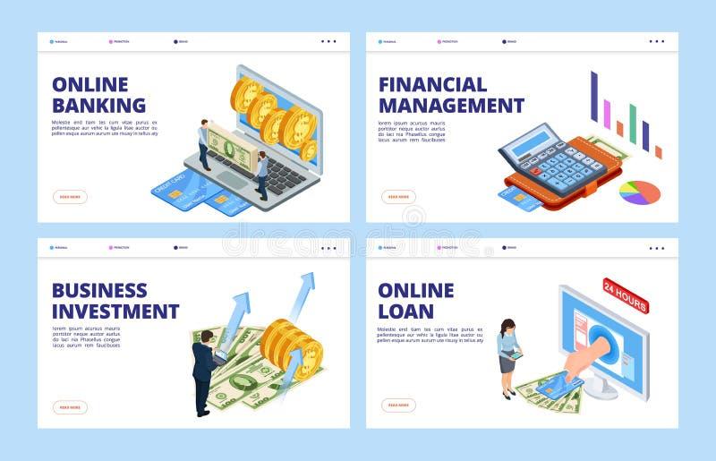 Начальная страница финансового отчета Шаблон векторных баннеров для бизнеса и финансов, банковский онлайн, финансовое управление, бесплатная иллюстрация