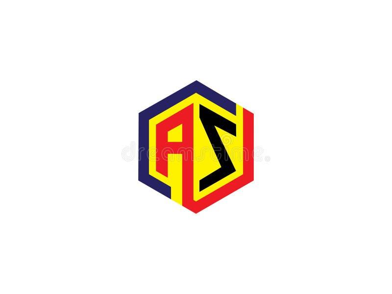 Начальное письмо КАК элемент письма векторной графики логотипа дизайна шестиугольника клеймя бесплатная иллюстрация
