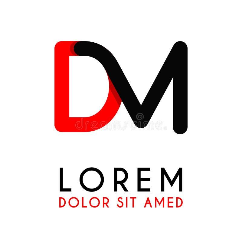 начальное письмо DM с красная черной и имеет округленные углы иллюстрация штока