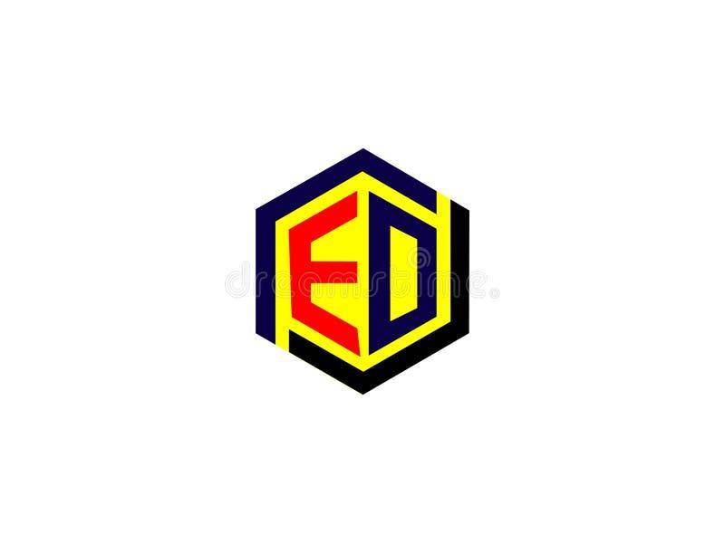Начальное письмо ED на элементе письма шестиугольной векторной графики логотипа дизайна клеймя иллюстрация вектора