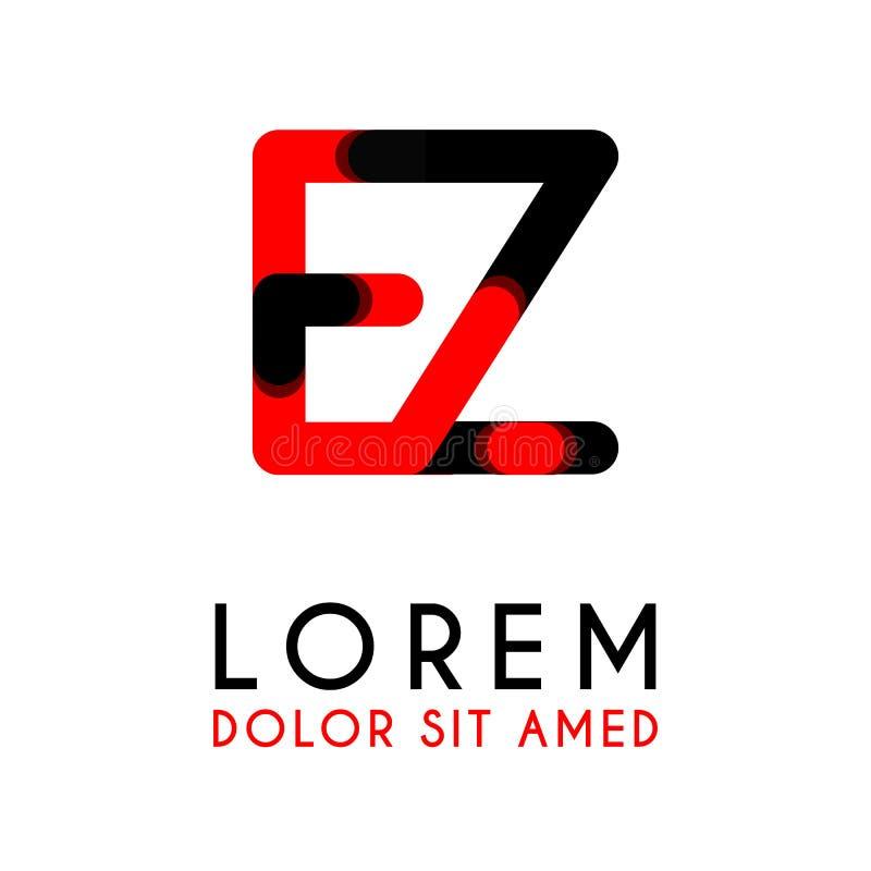 начальное письмо EZ с красная черной и имеет округленные углы иллюстрация штока