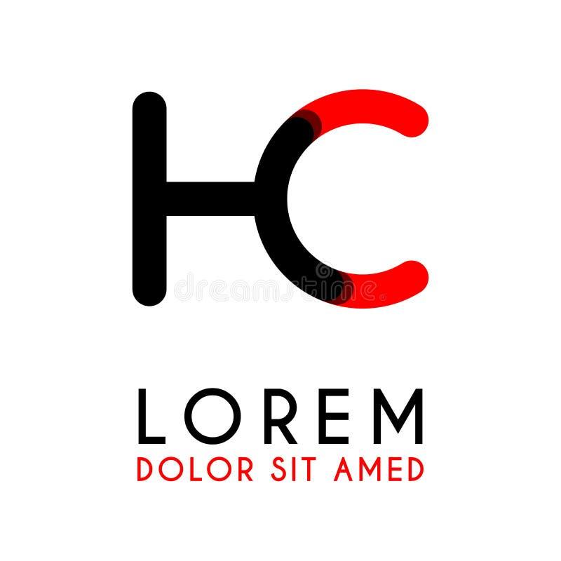 начальное письмо HC с красная черной и имеет округленные углы иллюстрация штока