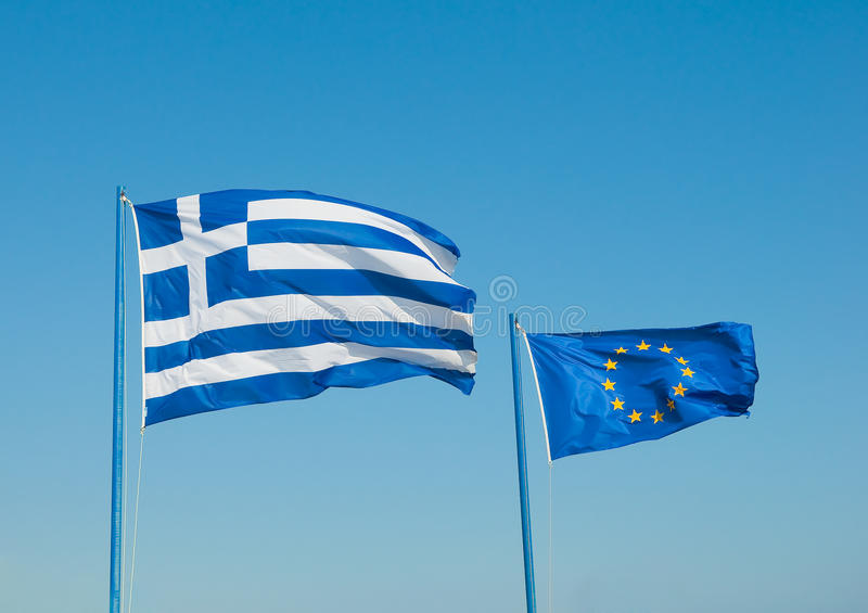 начатый ветер Греции 2 флагов стоковая фотография rf