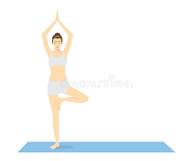 Начало женщины в йоге с деревом бесплатная иллюстрация