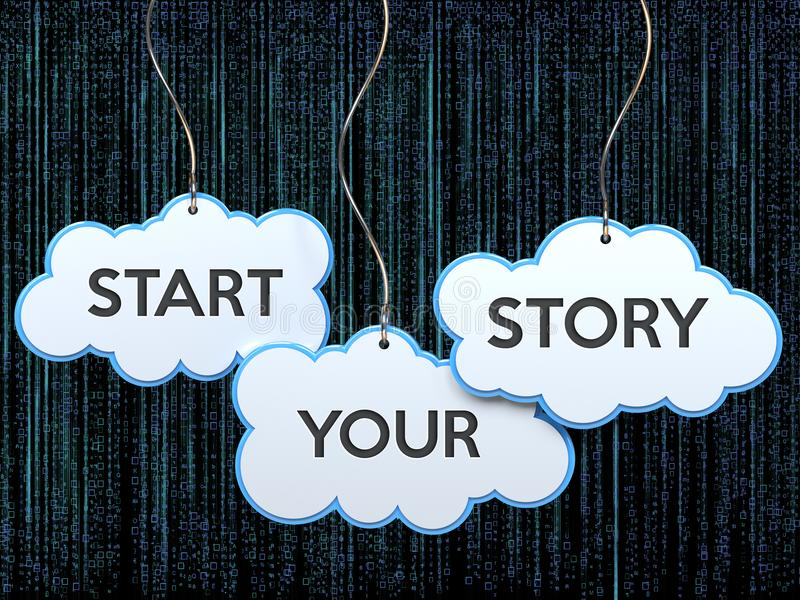 Начните ваш рассказ на знамени облака иллюстрация штока