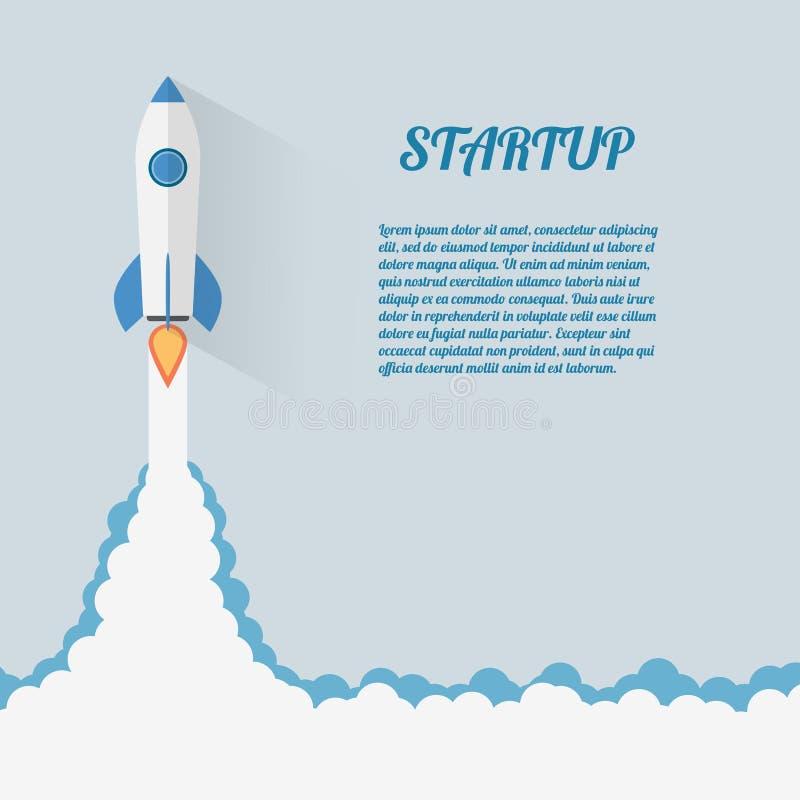 Начните вверх дизайн Roket космоса концепции современный плоский бесплатная иллюстрация