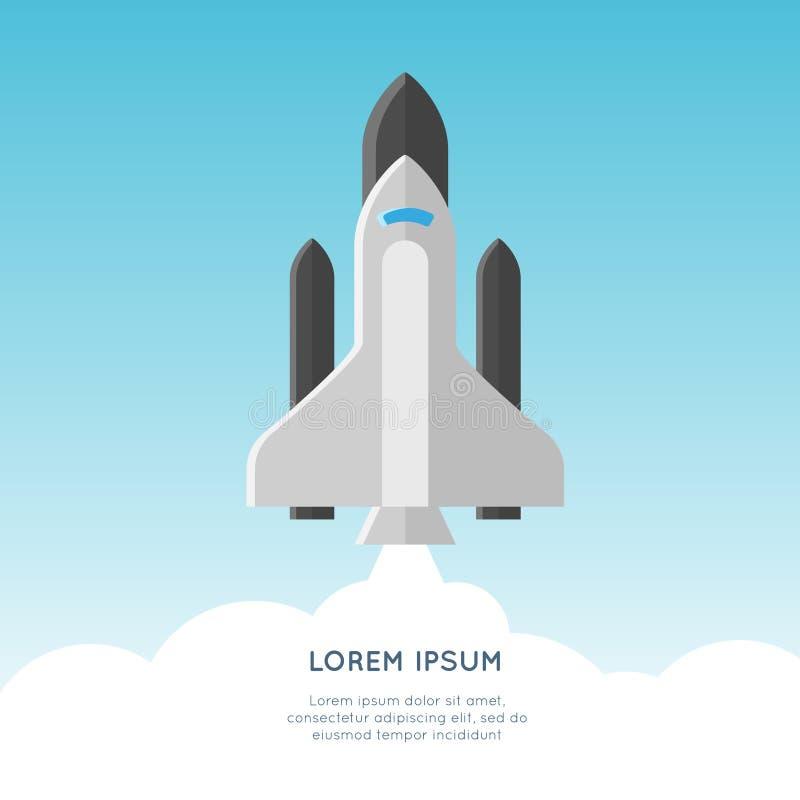 Начните вверх иллюстрацию концепции вектора старт ракеты бесплатная иллюстрация