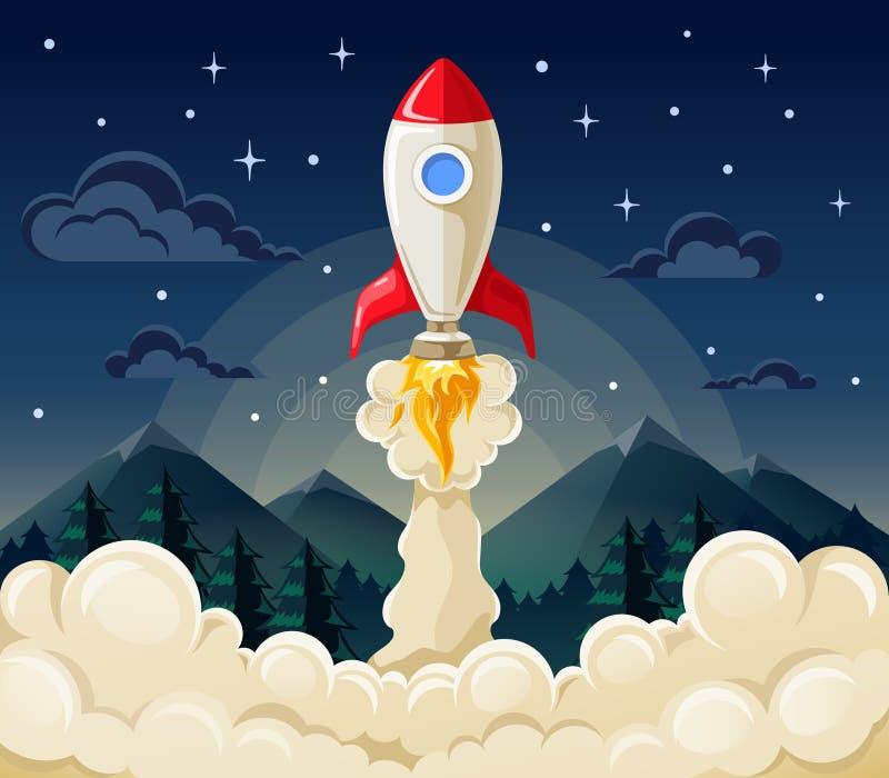 Начните вверх корабль ракеты космоса в плоском стиле иллюстрация штока