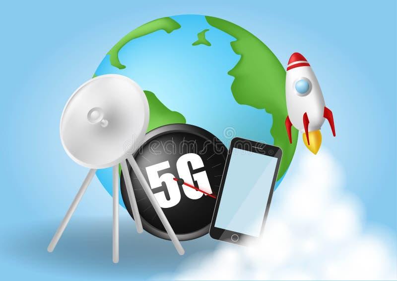 Начните вверх ракету Облака дыма Концепция скорости беспроводной сети, развитие 5G Глобальный на голубой предпосылке Реалистическ иллюстрация штока