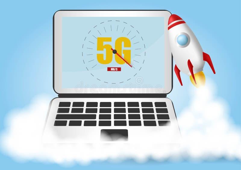 Начните вверх ракету Облака дыма Концепция скорости беспроводной сети, развитие 5G Ноутбук на голубой предпосылке Реалистический  иллюстрация штока