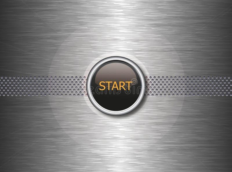 Начните кнопку на предпосылке металла иллюстрация штока