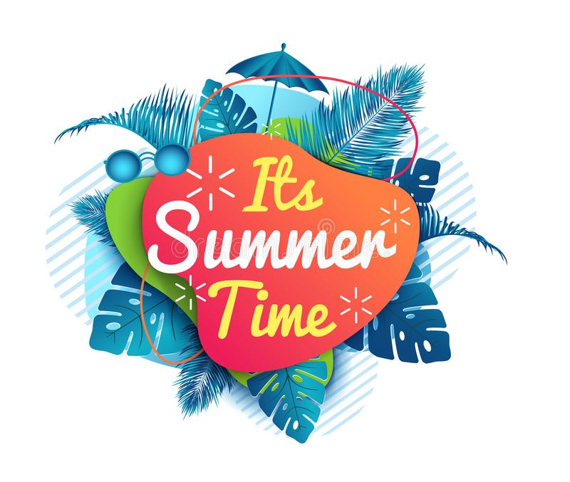 Its Summer time banner. abstract background. royalty free illustration