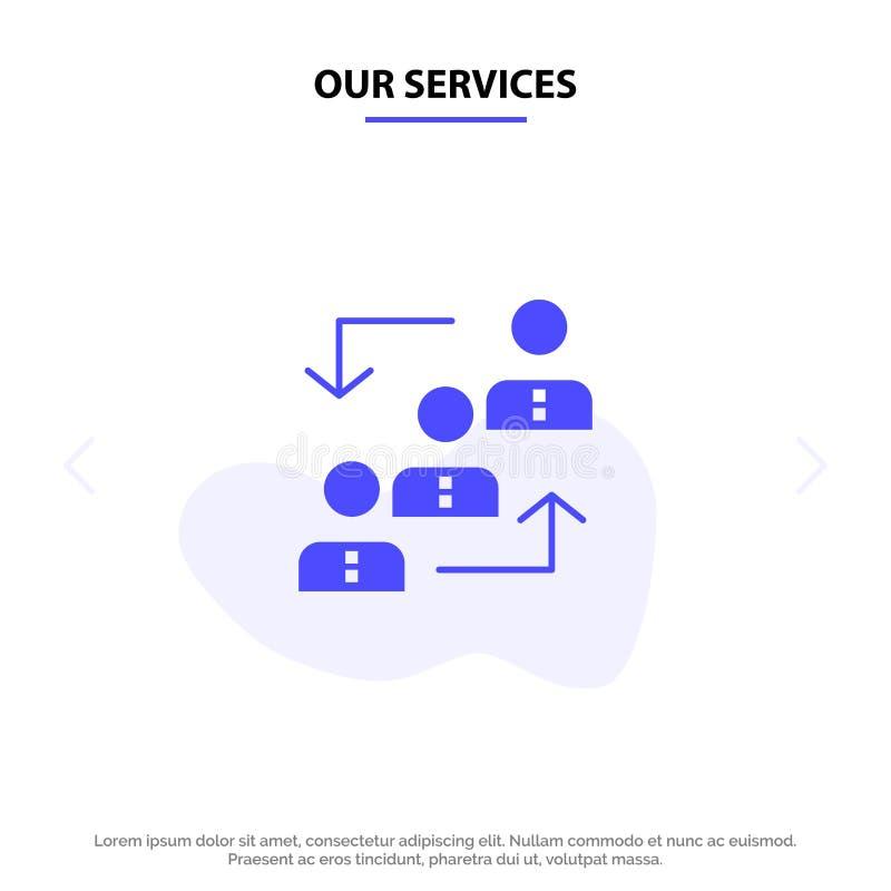 Наша карьера обслуживаний, выдвижение, работник, лестница, продвижение, штат, шаблон карты сети значка глифа работы твердый бесплатная иллюстрация