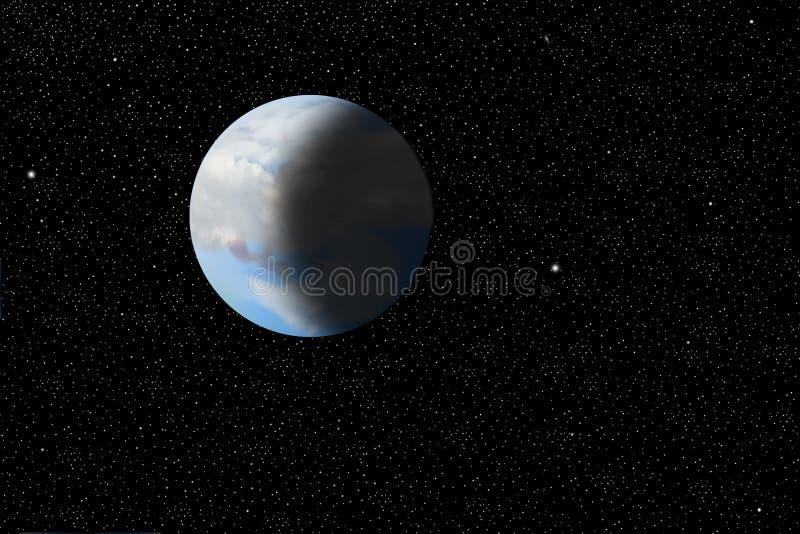 Наша красивейшая, утлая земля как осмотрено от космоса иллюстрация штока