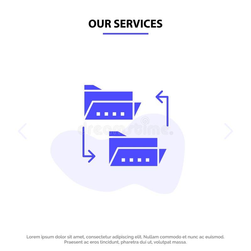 Наша папка обслуживаний, документ, файл, совместное пользование файлами, деля твердый шаблон карты сети значка глифа иллюстрация вектора