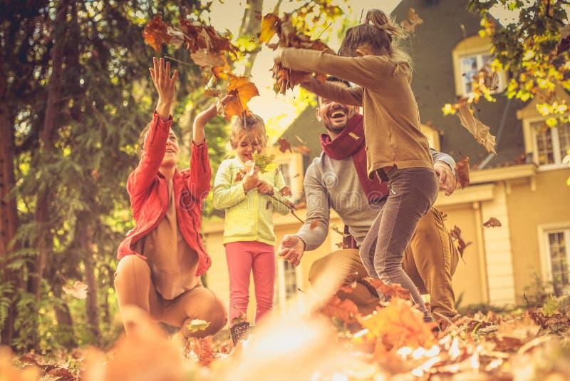 Наша семья действительно специальна бросать листьев стоковые фотографии rf