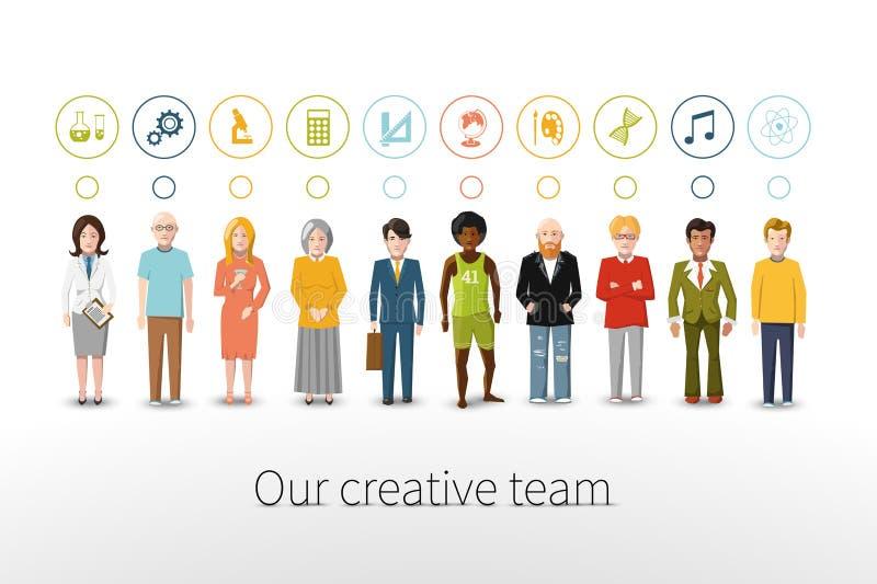 Наша творческая команда 10 людей с занятиями иллюстрация вектора
