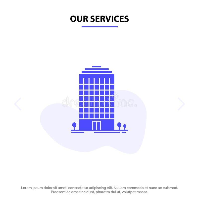 Наше здание обслуживаний, офис, башня, шаблон карты сети значка глифа космоса твердый бесплатная иллюстрация