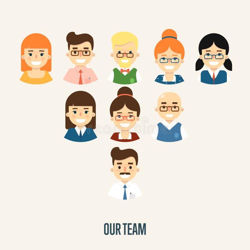 Наше знамя команды с персонажами из мультфильма иллюстрация вектора