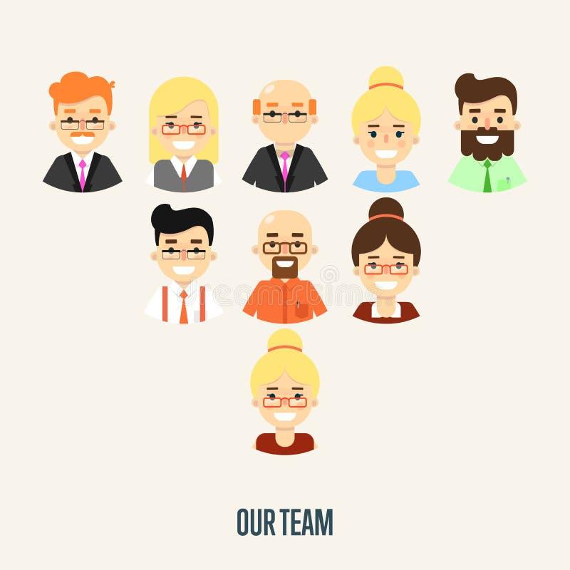 Наше знамя команды с персонажами из мультфильма иллюстрация штока