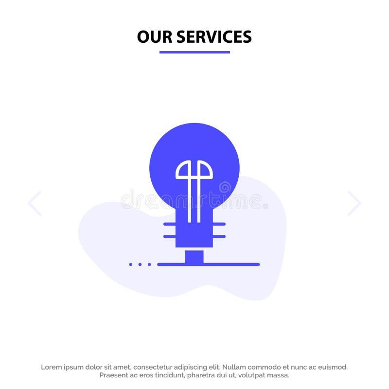 Наше предприятие сферы обслуживания, определяя, управление, шаблон карты сети значка глифа продукта твердый иллюстрация штока