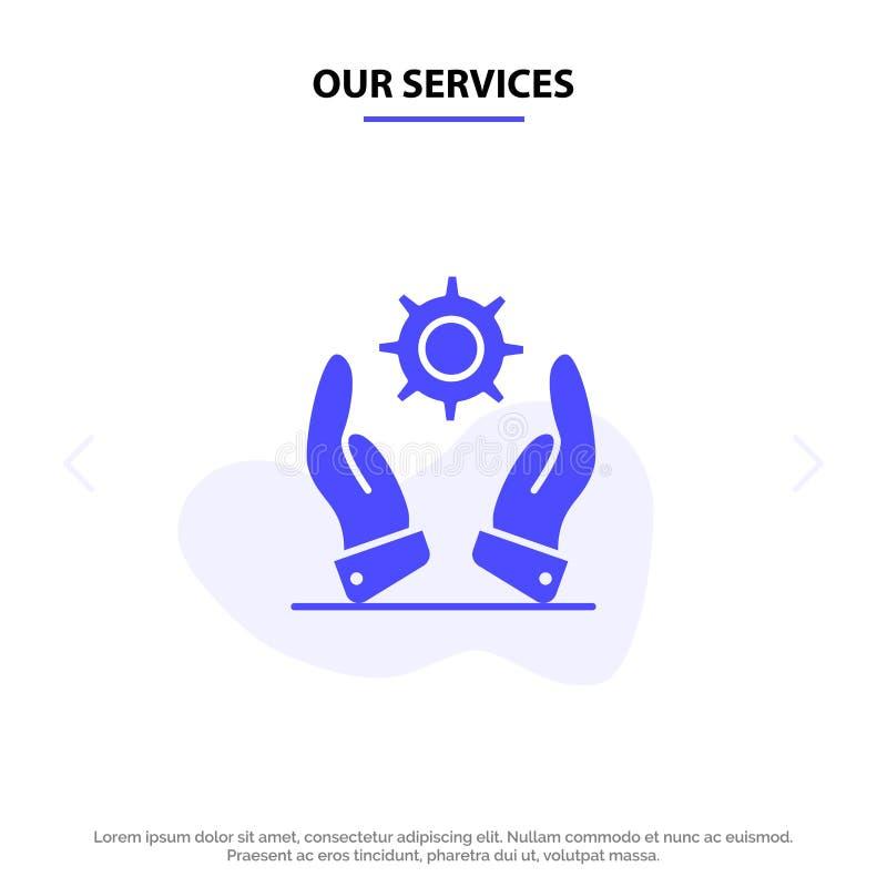 Наше предприятие сферы обслуживания, развитие, современное, шаблон карты сети значка глифа решений твердый иллюстрация вектора
