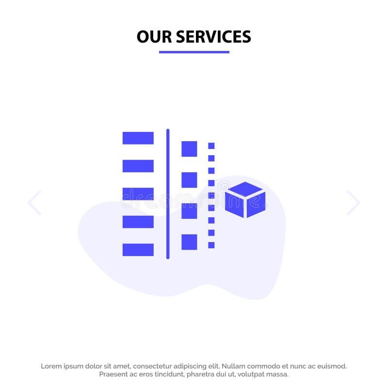 Наше развитие обслуживаний, участки, план, планирование, шаблон карты сети значка глифа продукта твердый иллюстрация вектора