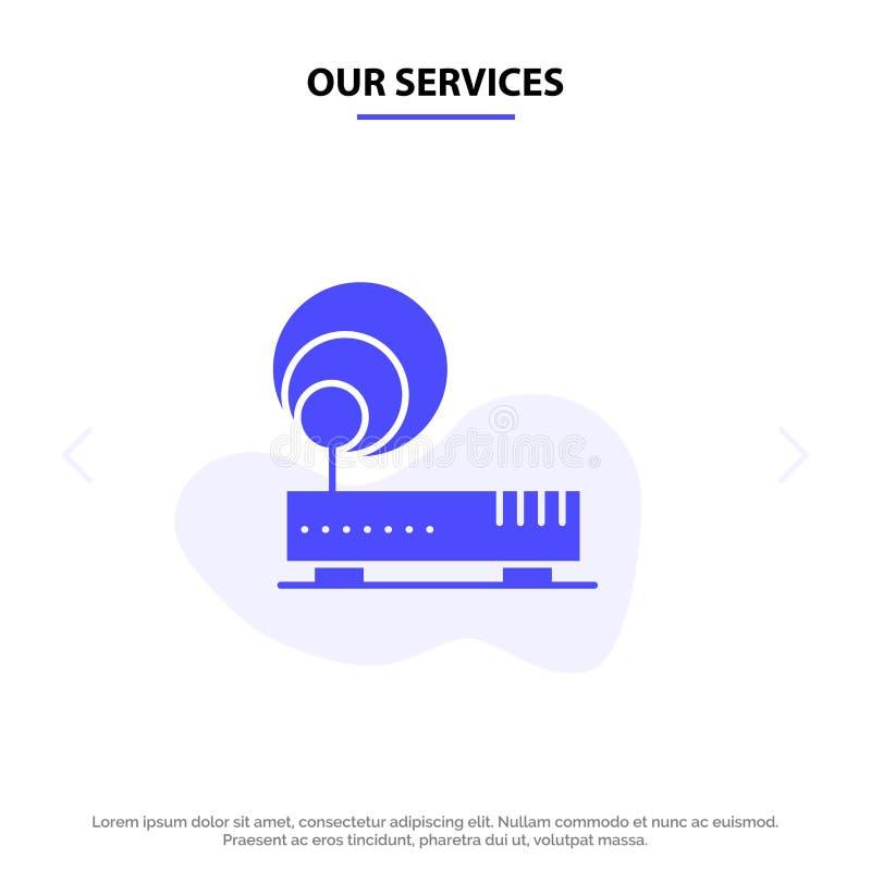 Наше соединение обслуживаний, оборудование, интернет, шаблон карты сети значка глифа сети твердый иллюстрация вектора