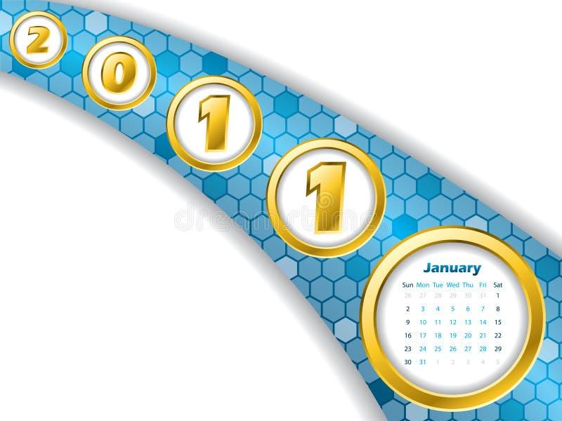 нашивка в январе 2011 календара иллюстрация вектора