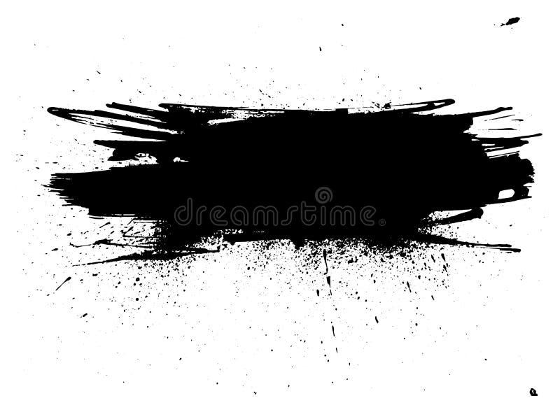 Нашивка краски Grunge Ход щетки вектора Огорченное знамя Paintbrush изолированный чернотой иллюстрация вектора
