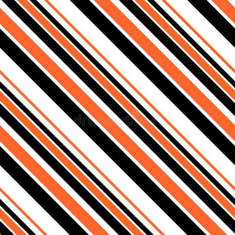 Нашивки безшовной картины нашивок хеллоуина - черные, оранжевые, и белые раскосные конструируют иллюстрация вектора