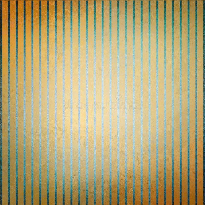 Нашивки винтажной предпосылки золота голубые и увяданная разбивочная и старая огорченная текстура иллюстрация штока