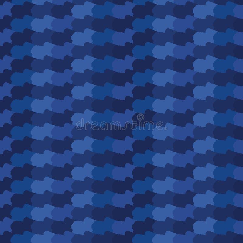 Нашивки волн конспекта сини индиго органические Предпосылка картины градиента вектора безшовная Линии график руки вычерченные вол иллюстрация вектора