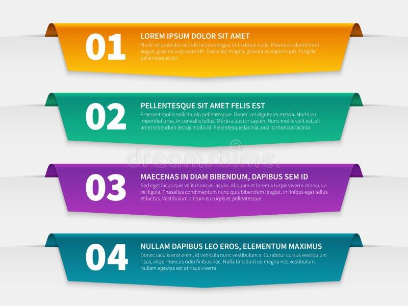 Нашитые ярлыки Шаблон листовки знамен цвета infographic, infographics пронумеровал бирки ленты с текстом информационный доклад 3d иллюстрация вектора