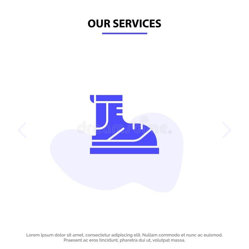 Наши ботинки обслуживаний, Hiker, след, шаблон карты сети значка глифа ботинка твердый иллюстрация штока