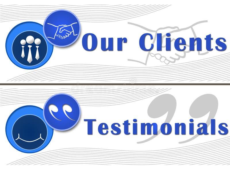Наши знамена рекомендаций клиентов иллюстрация вектора