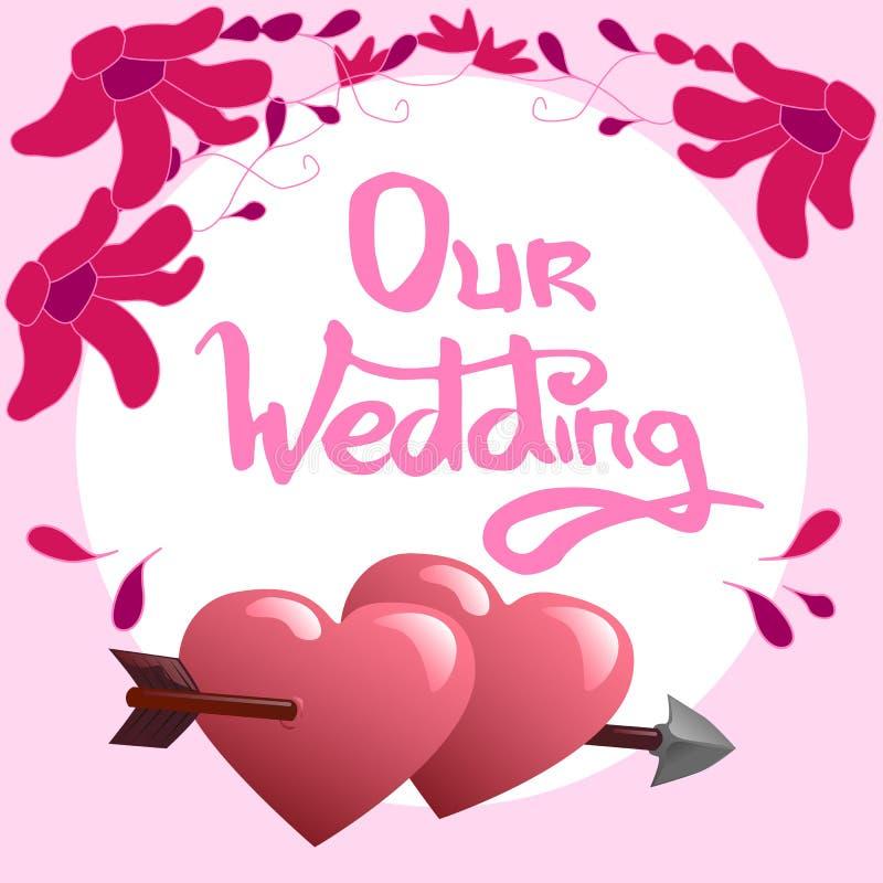 Наши литерность и сердца свадьбы иллюстрация штока