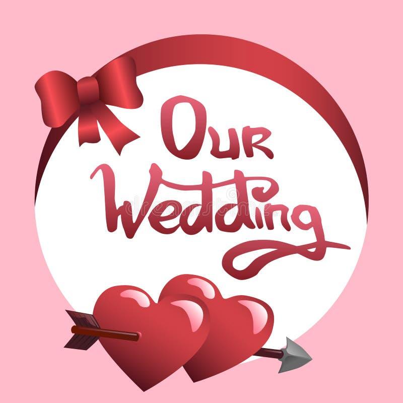Наши литерность и сердца свадьбы бесплатная иллюстрация