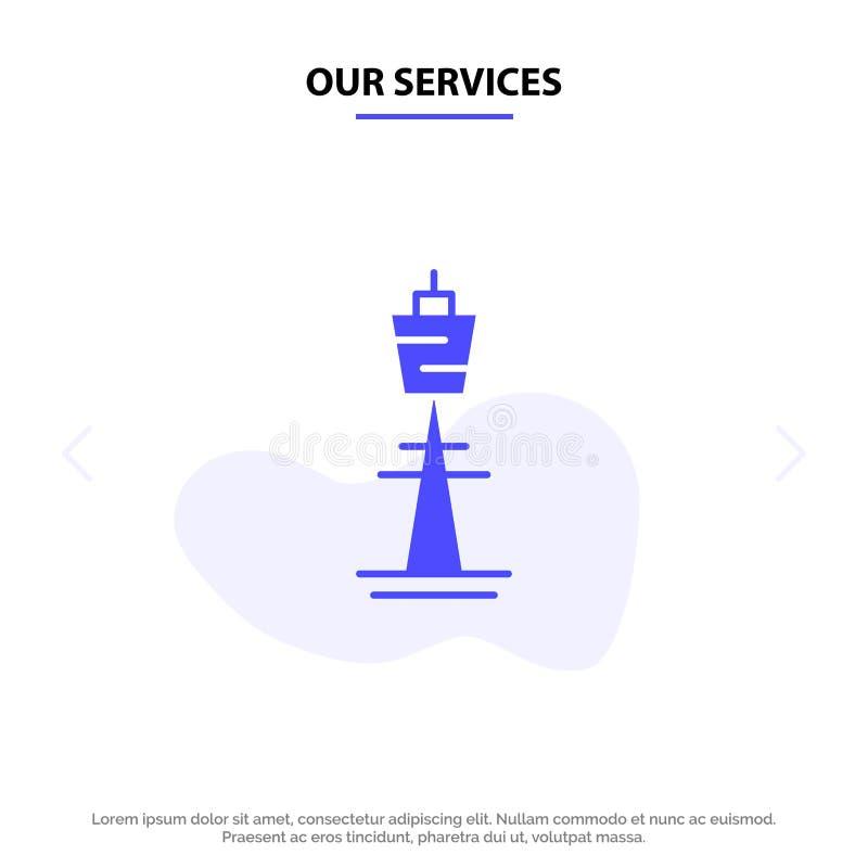 Наши обслуживания Австралия, австралиец, здание, Сидней, башня, шаблон карты сети значка глифа башни ТВ твердый иллюстрация вектора